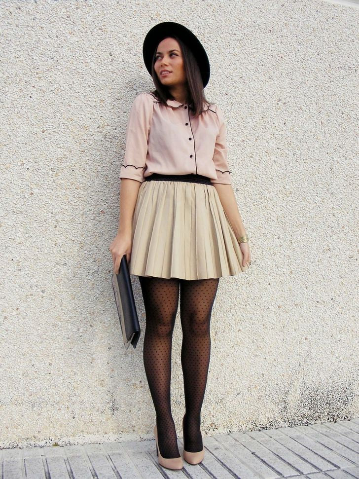 Black polka dot pantyhose with salmon shirt and plaid beige skirt ...