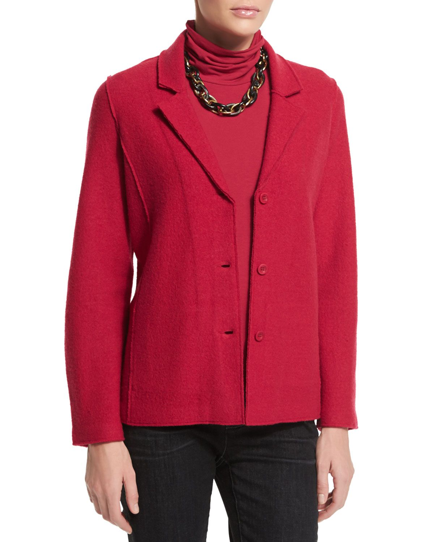 Lightweight Boiled Wool Shaped Jacket, Women's, Size: MEDIUM (10/12), Grey - Eileen Fisher