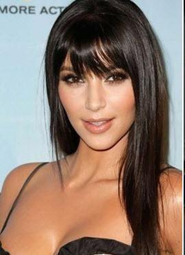 coupe cheveux long brun avec frange