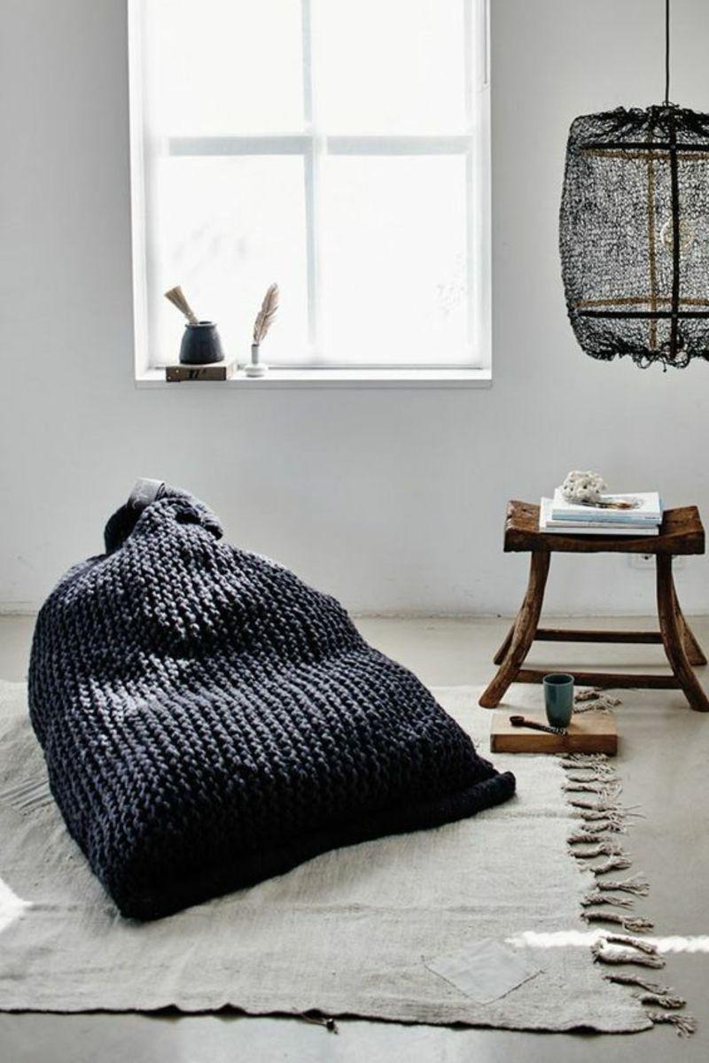 Wohnzimmer Möbel Im Rustikalen Stil Sitzkissen Stricksack