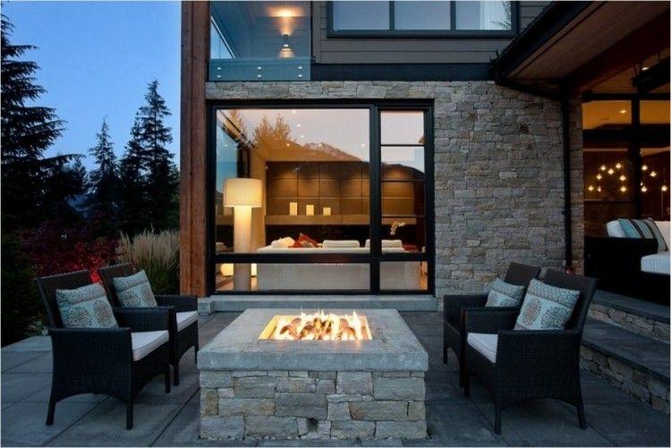 Foyer extérieur dans le jardin 50 idées remarquables pour vous - banc en pierre pour jardin