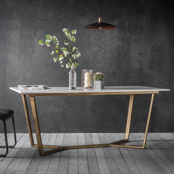 Gatsby Marmor Esstisch Weiß & Gold Moderne Speisemöbel