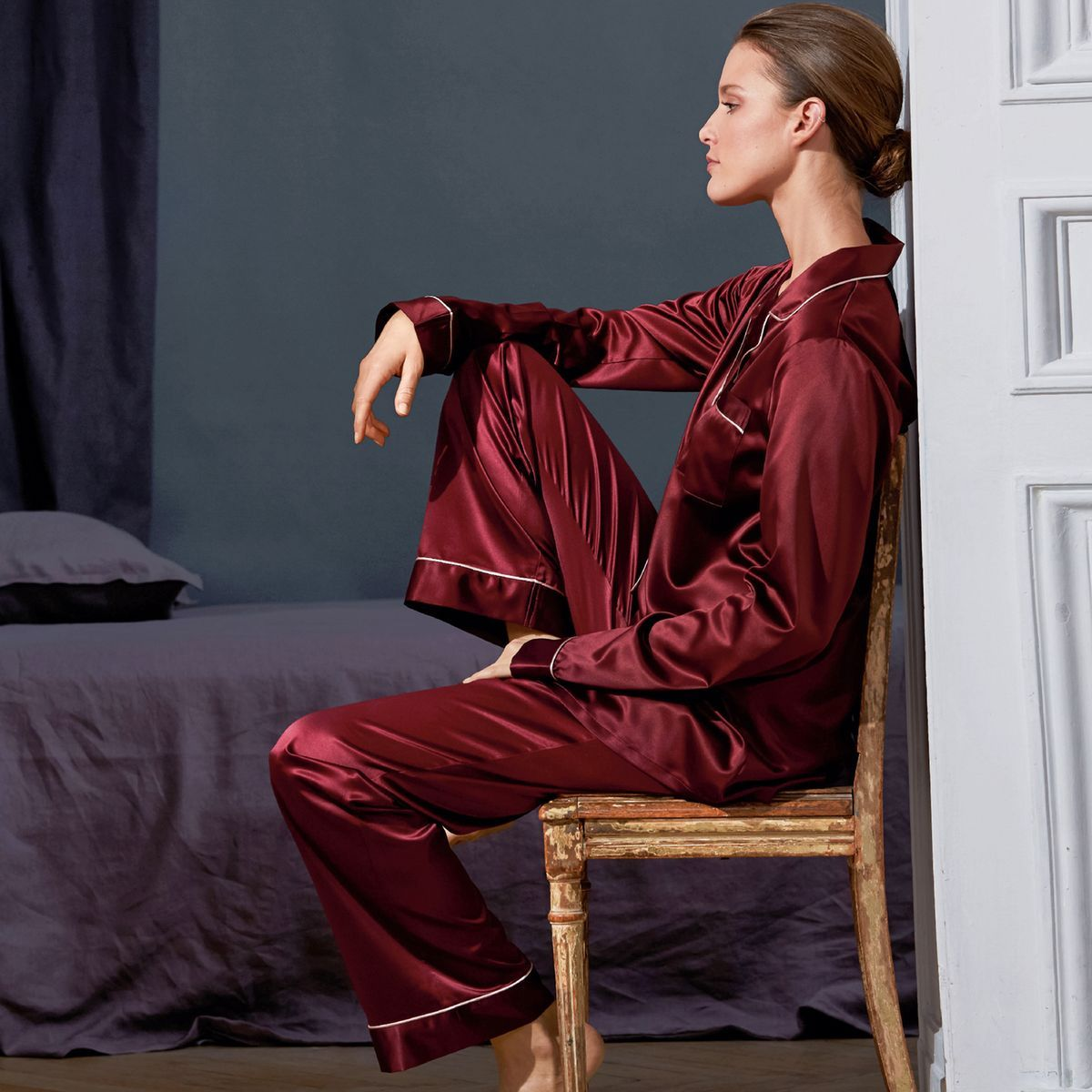 pyjama grand p re en satin louise marnay en soldes la. Black Bedroom Furniture Sets. Home Design Ideas