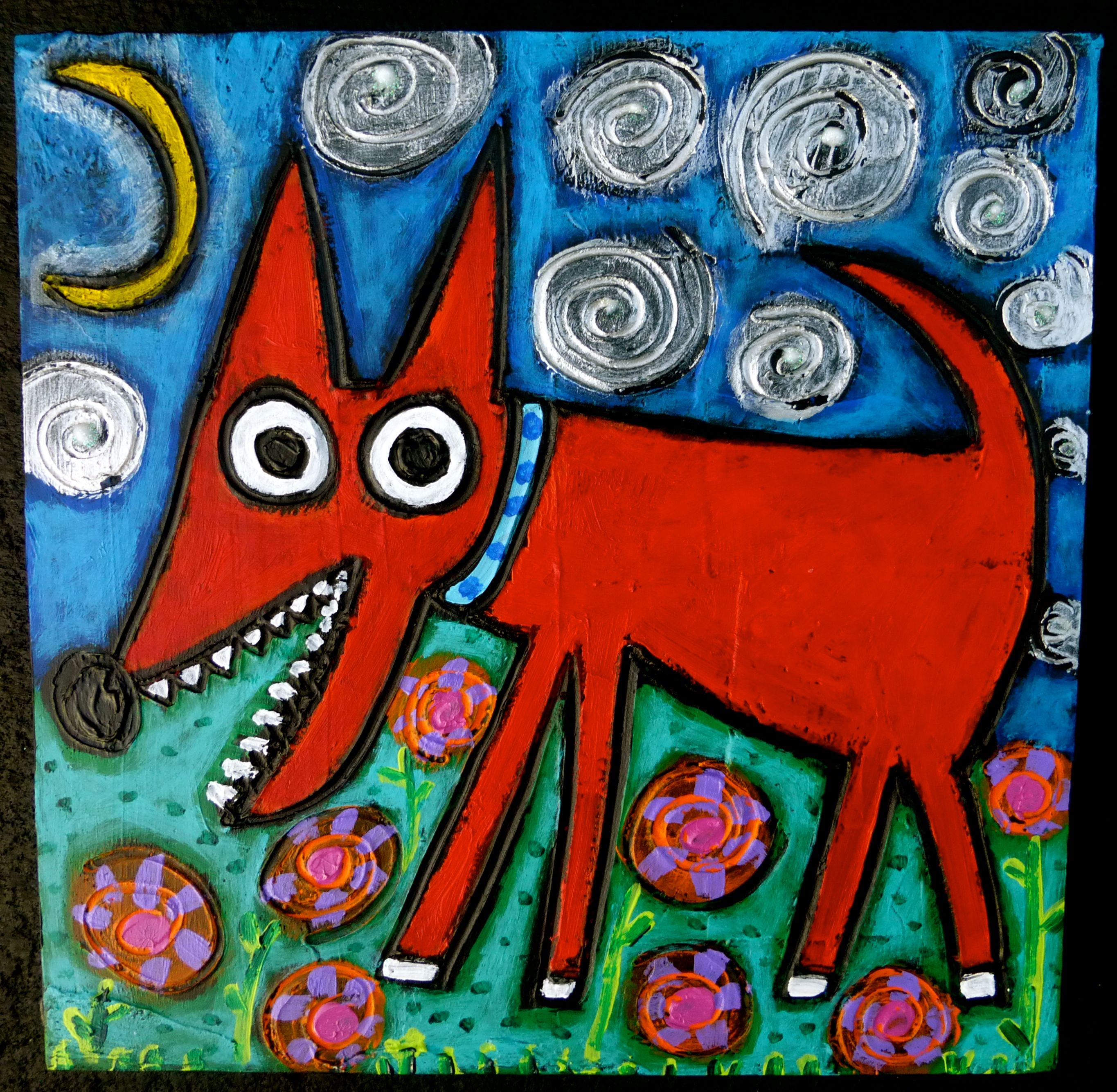 By The Light The Silvery Moon Doggie original painting by