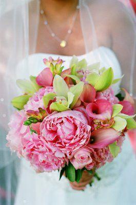 Pink wedding flowers, pink callas, callas, orchids, green and pink wedding, green wedding, tropical wedding