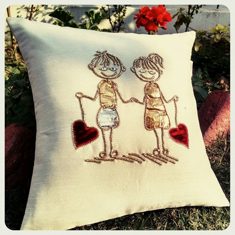 In loveu cushion by mishaverma off white silk front with