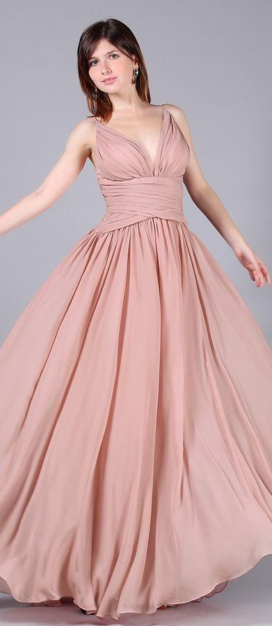 Dusty rosa Abendkleider lang V Schnitt Brautjungfernkleider Spaghetti  Traeger 7f59bc44ff
