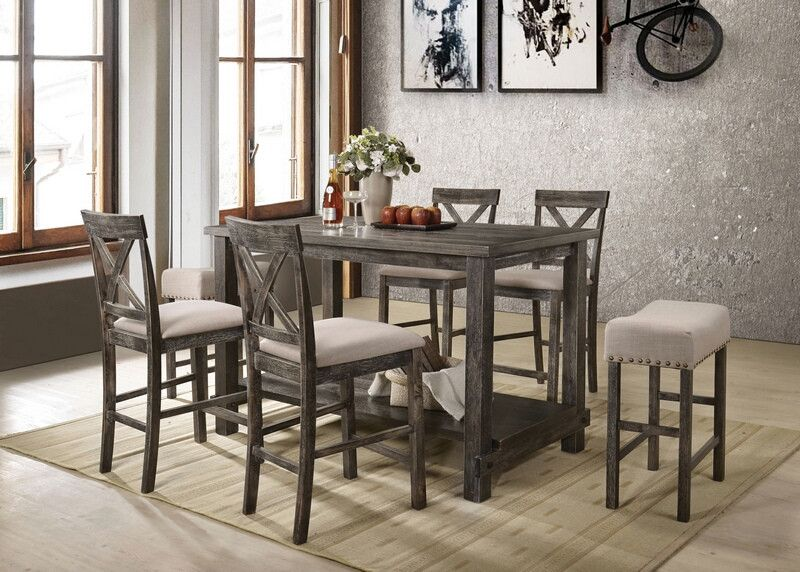 Acme 73830 32 33 7 Pc Martha Ii Weathered Gray Finish Wood Counter Height Dining Table Set Counter Height Dining Sets Counter Height Dining Table Solid Wood Dining Set