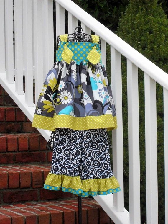 Toddler Knot Dress and Ruffle Pants Set Michael by GROOVYGURLZ, $65.00