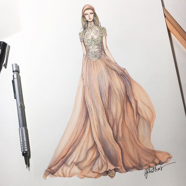 Croquis robe haute couture