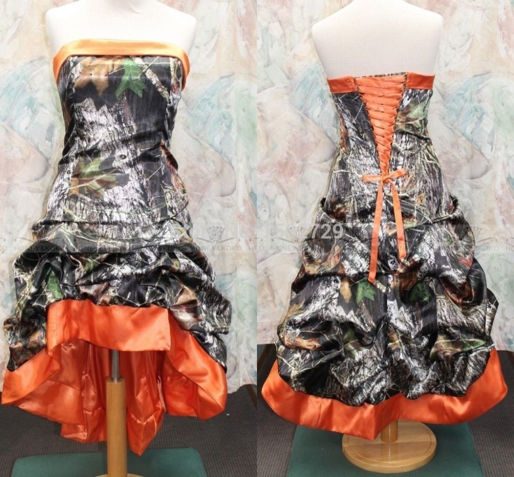 Fashion high low camo prom gowns sweetheart strapless formal elegant short camo bridesmaids dresses s ombrellifo Gallery