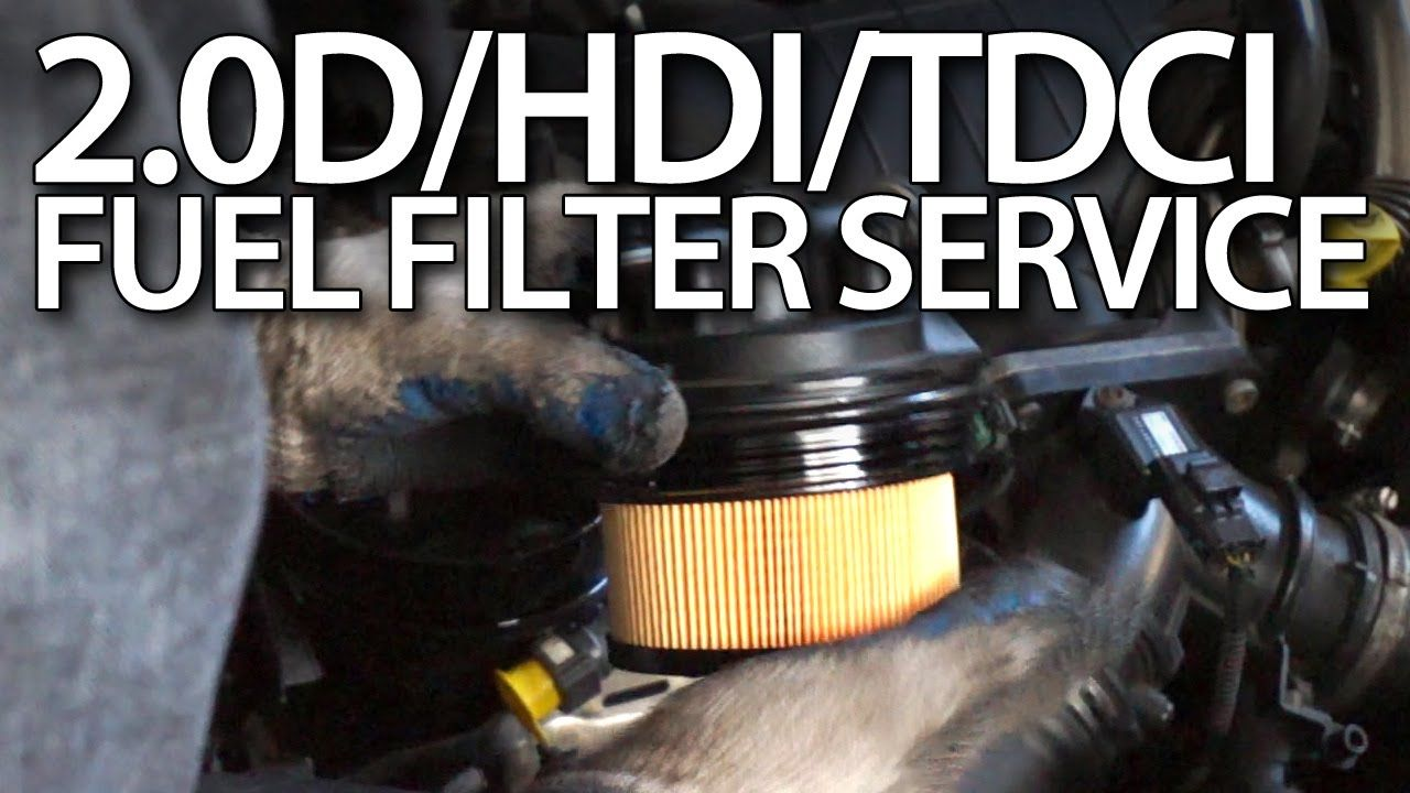 how to change fuel filter in volvo 2 0d ford 2 0tdci peugeot 2 0hdi citroen cars service maintenance [ 1280 x 720 Pixel ]