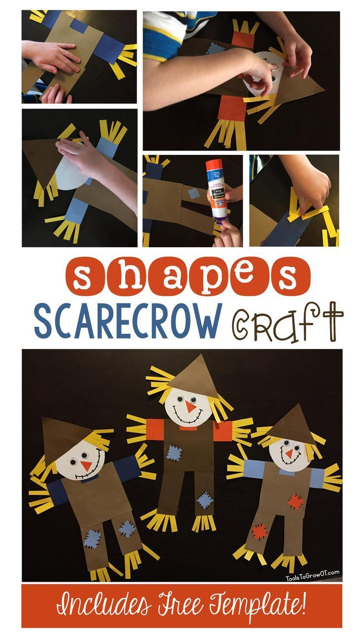Shapes Scarecrow Craft | Scarecrows, Free printable and Template