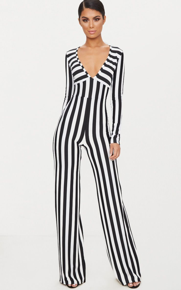 4d7fbbf54662 Monochrome Striped Long Sleeve Plunge Jumpsuit. Shop the range of jumpsuits    playsuits today at