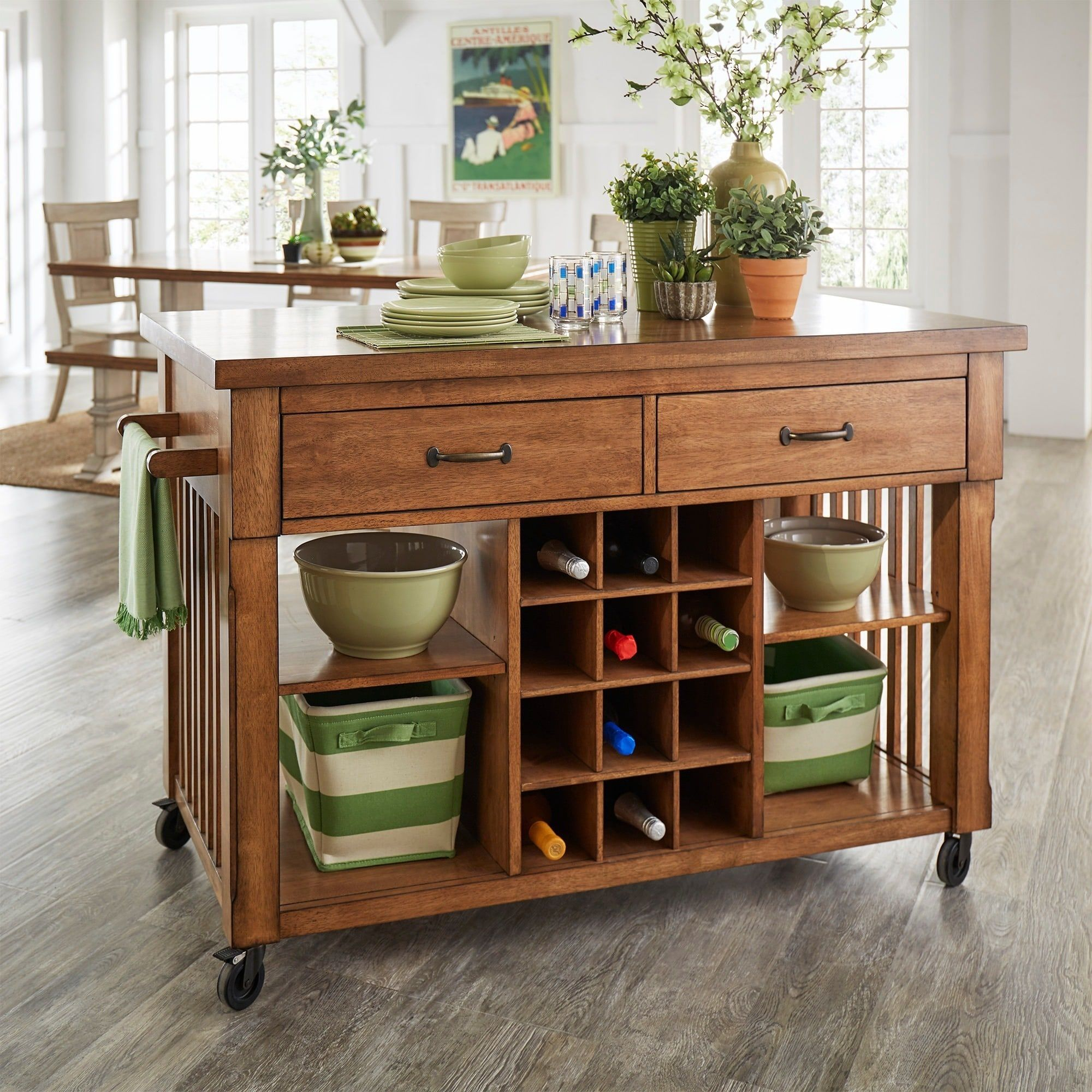 Eleanor Two-Tone Rolling Kitchen Island with Wine Rack by iNSPIRE Q Classic  (Oak