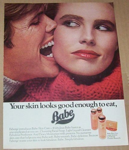 Skin Care Ads: 1977-ad-page-BABE-Cosmetics-skin-care- -- Weird Vampire