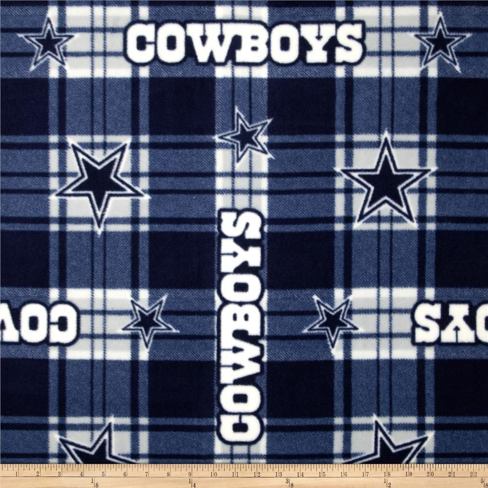 Nfl dallas cowboys plaid fleece bluewhite fabric by the yard in