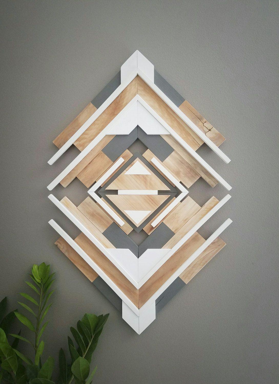 One of a kind reclaimed wood wall art handmade geometric glowing