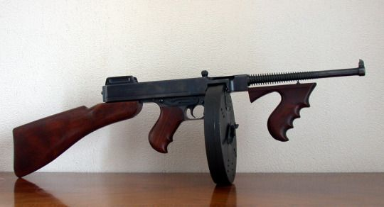 A Thompson M1921 with a 100-round drum magazine. Note the blued finish - earlier models were much fancier than military one.