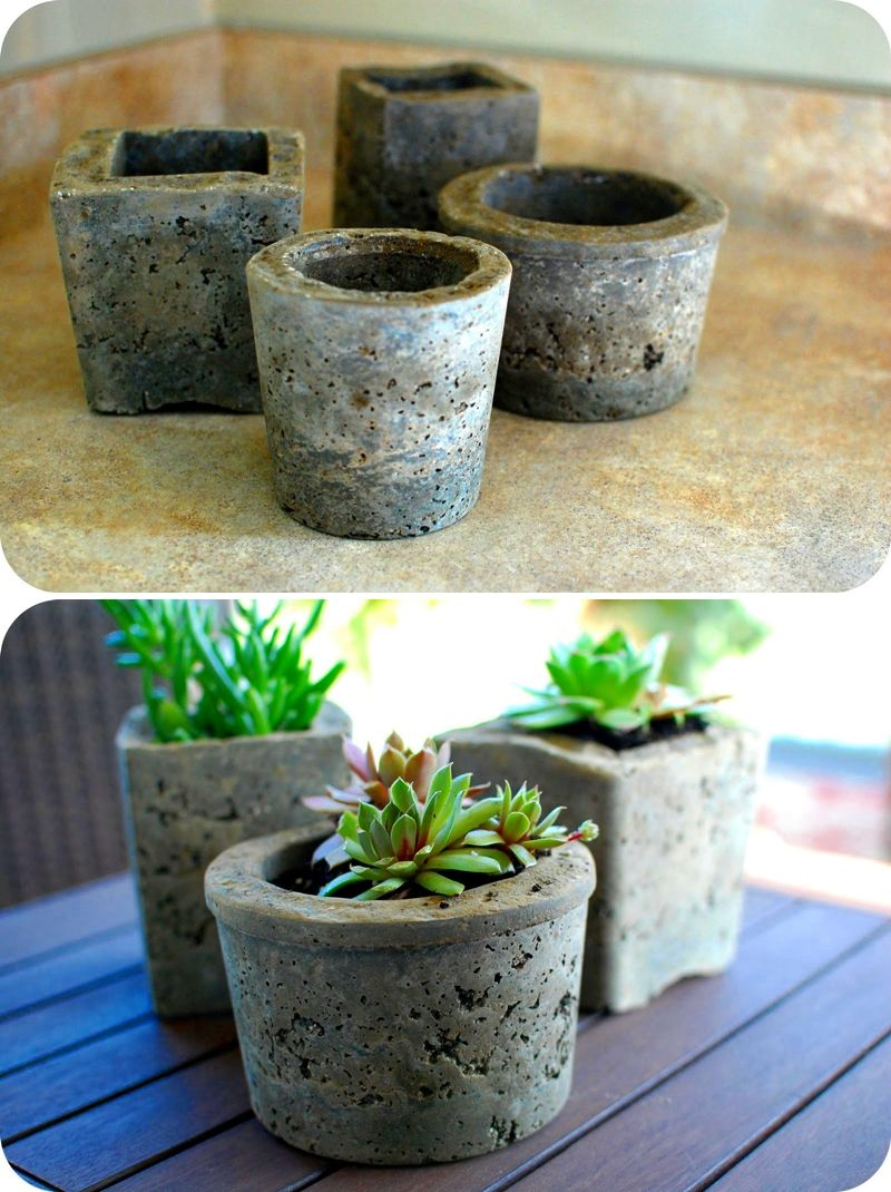 homemade pots made from cement a good way to use up the. Black Bedroom Furniture Sets. Home Design Ideas