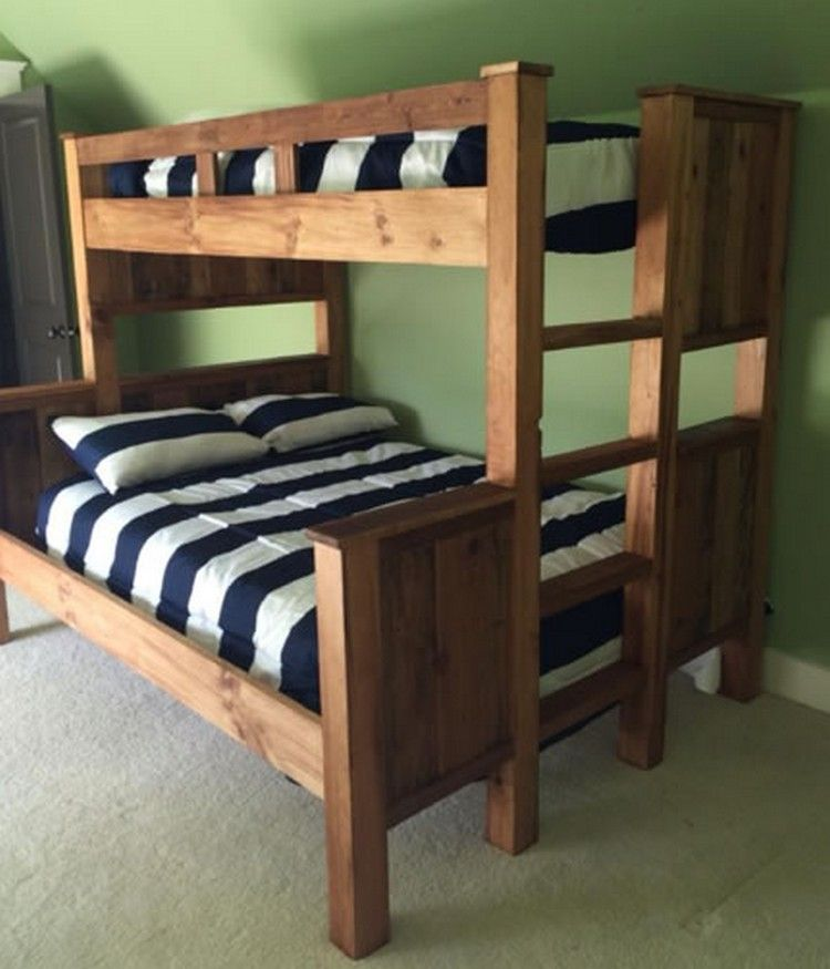 Wood Pallet Bunk Bed Easy Woodworking In 2019 Pallet Bunk Beds