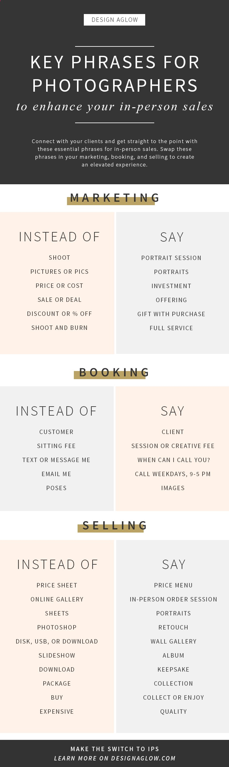 Swappable marketing phrases for photography by Design Aglow. Make more money for your business with in person sales!https://designaglow.com/pages/ultimate-in-person-sales-course-for-photographers?utm_campaign=coschedule&utm_source=pinterest&utm_medium=Design%20Aglow&utm_content=Key%20Phrases%20for%20Photographers%20to%20Enhance%20Your%20In-Person%20Sales