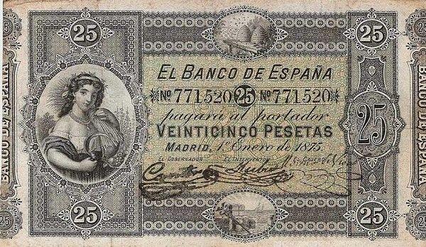 Billete: 25 Pesetas (España) (1875 Issue) Wor:P-6