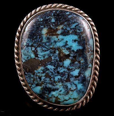 Vintage-Old-Pawn-Navajo-Gem-Grade-Blue-Diamond-TURQUOISE-Sterling-Ring