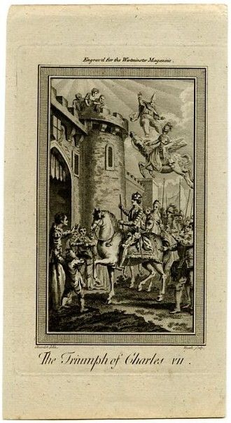 The Triumph of Charles VII; Antique Print 18th c. copper ...