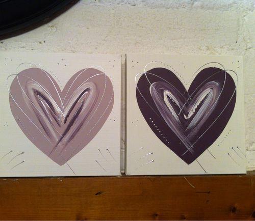 Purple plum mauve silver heart canvas pictures for hall