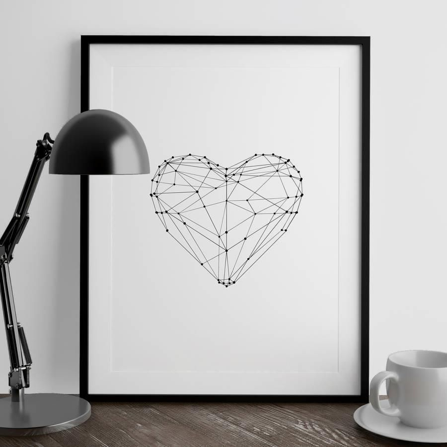 Polygon Love Heart http://www.amazon.com/dp/B016N2KD96   inspirational quote word art print motivational poster black white motivationmonday minimalist shabby chic fashion inspo typographic wall decor
