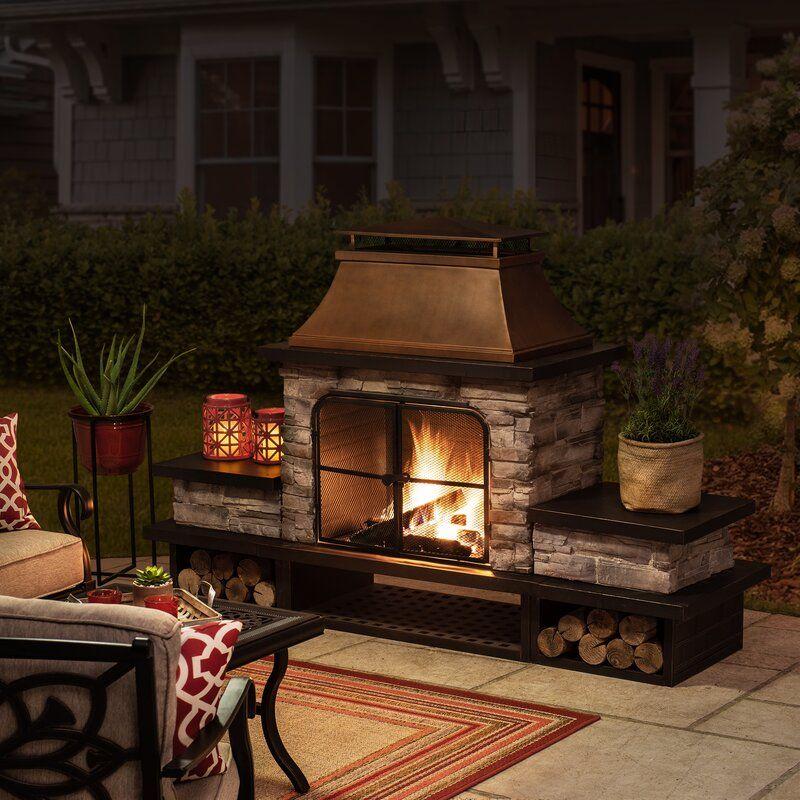 Quillen Steel Wood Burning Outdoor Fireplace in 2020 ... on Quillen Steel Wood Burning Outdoor Fireplace id=12079