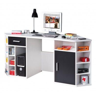 Bureau dangle avec rangement coloris noir et blanc Workspaces