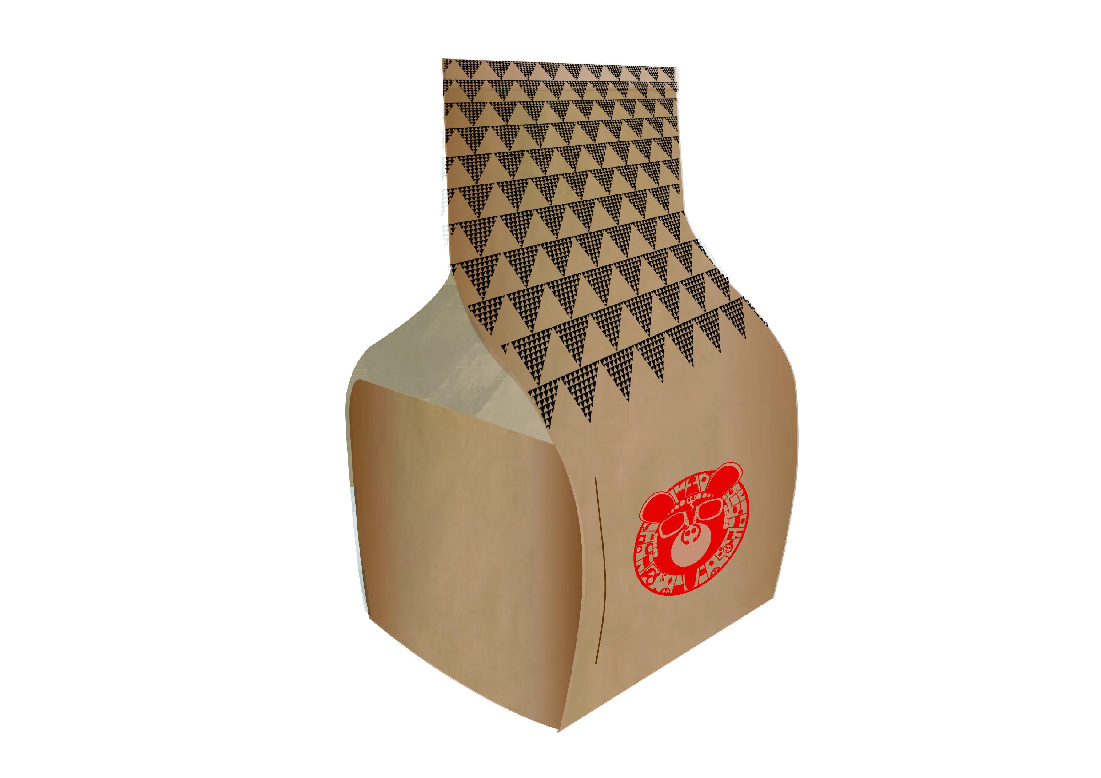Propuesta numero uno de packaging de Rendibú 2014, una bolsa de papel que al abrirse se extiende como mantel, bolsa practica para que los invitados no se ensucien ya que esta cena es un cátering y se come por todo el recinto, mayormente  en el suelo.