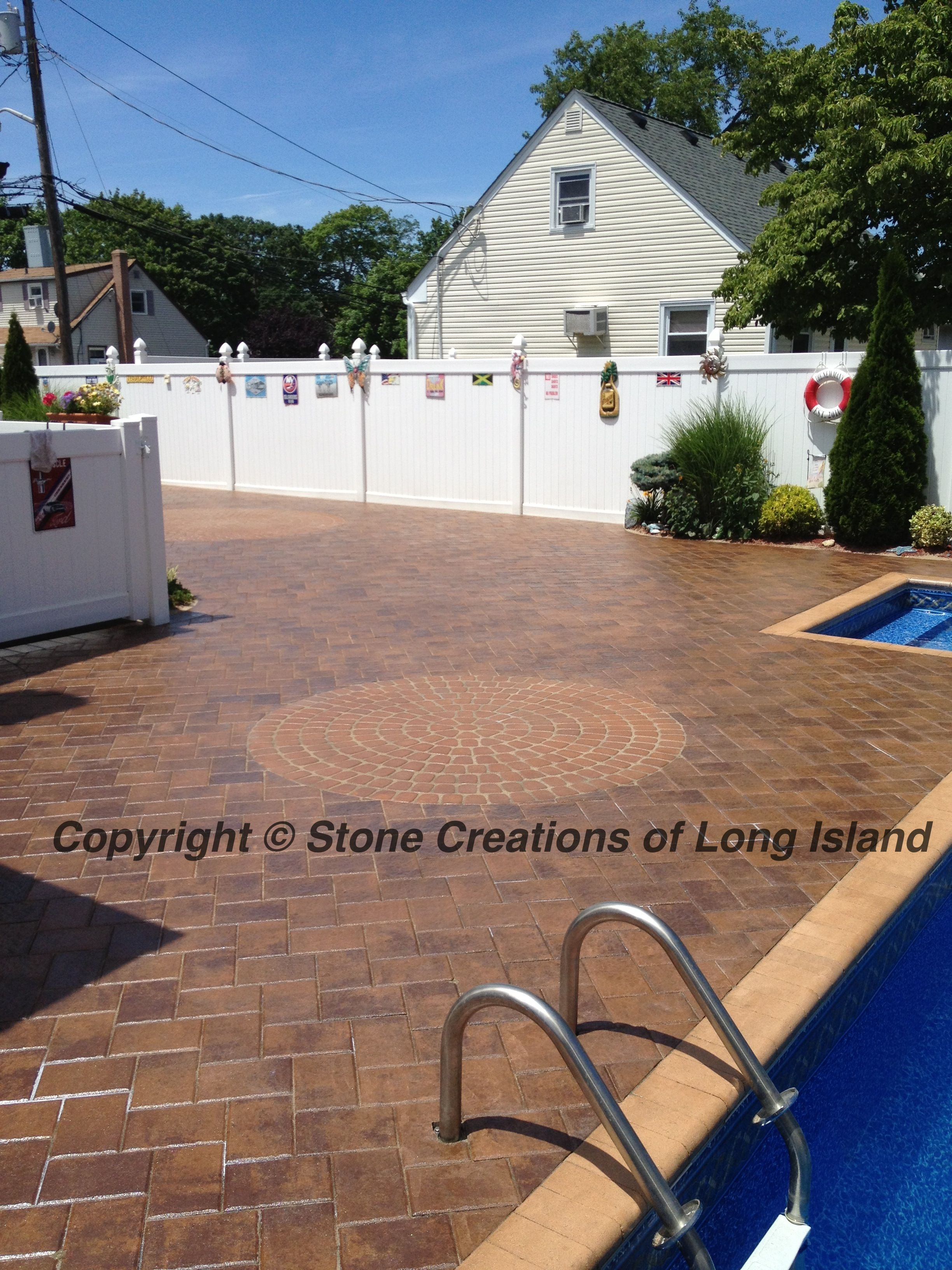 nicolock natural paving stone pool deck  lindenhurst  n y