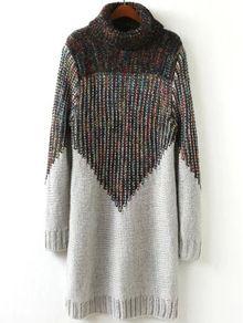 Turtleneck Grey Sweater Dress