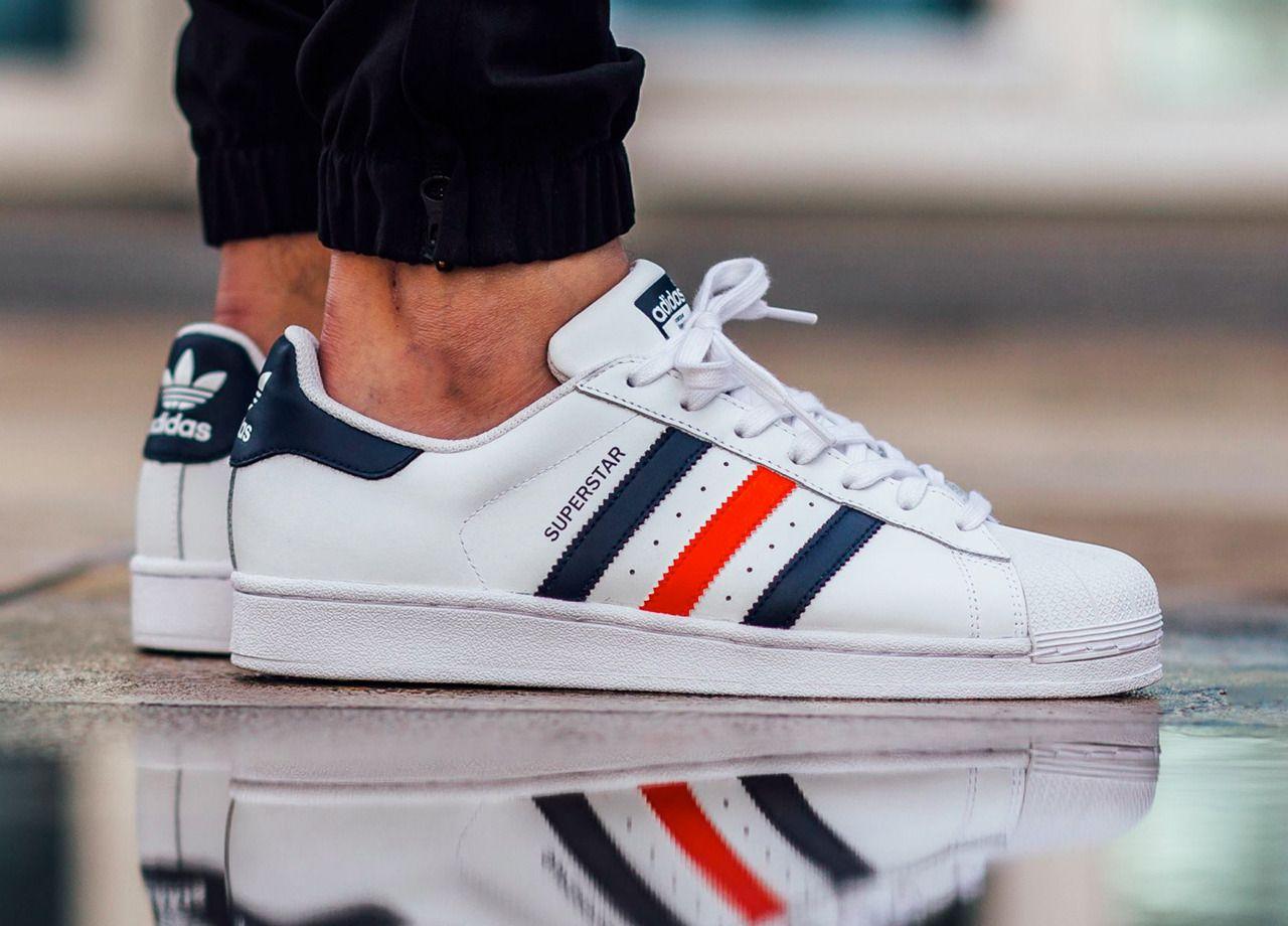 Adidas Superstar Foundation WhiteCollegiate NavyRed (by