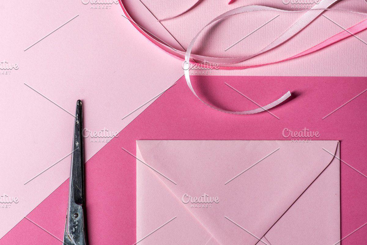 Pink square envelope