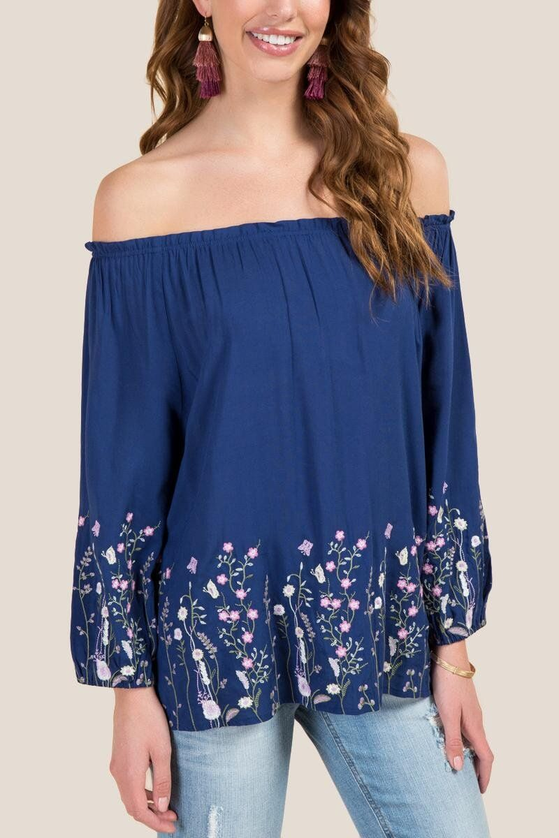 Kristen Off The Shoulder Border Embroidery Top