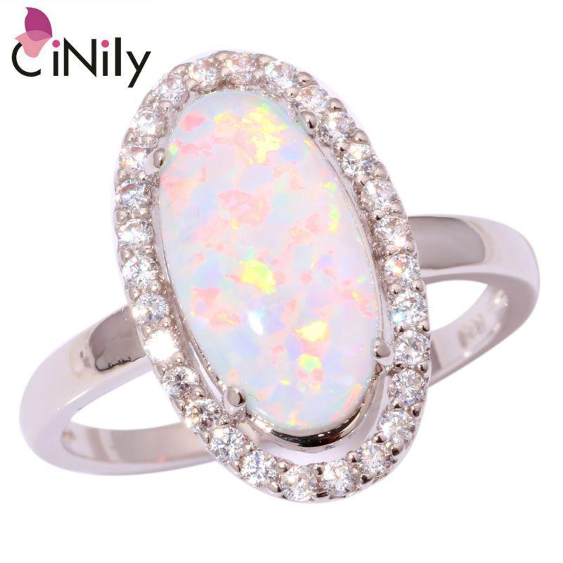 CiNily Erstellt Weiß Feueropal Zirkonia Silber Überzogene Ring Großhandel Einzelhandel Heißer für Frauen Schmuck Ring Größe 5-12 OJ5310