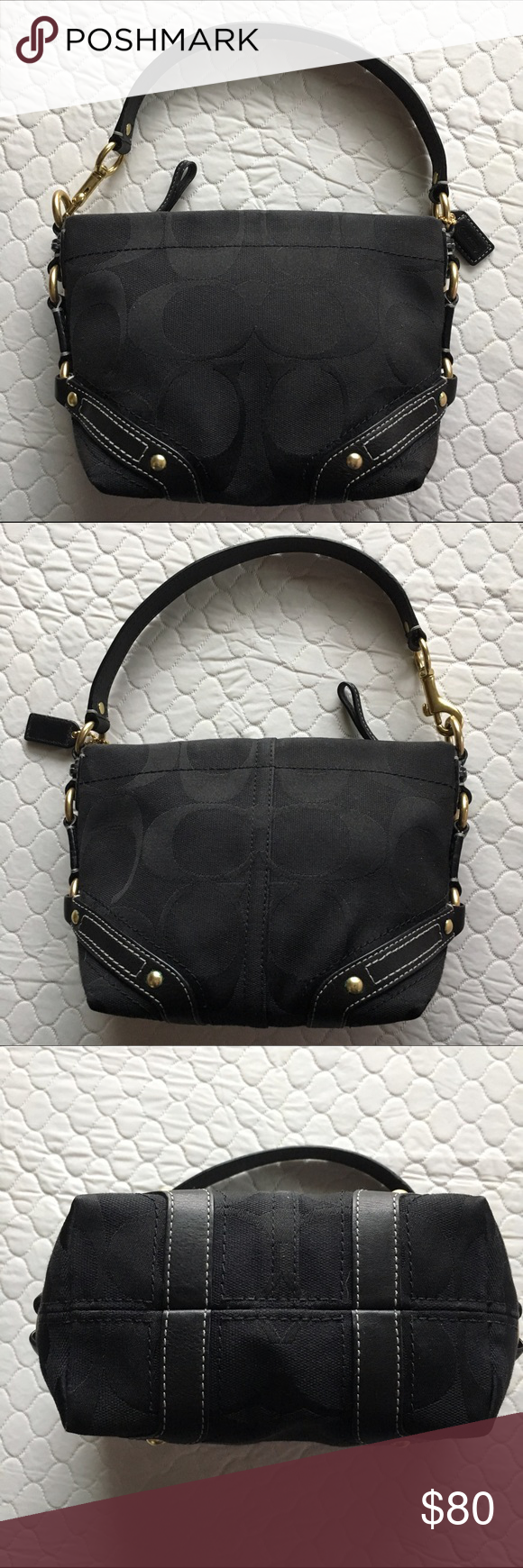 """COACH Hobo Bag Black Jacquard Logo fabric with leather trim and gold tone hardware. Top zip. Inside there is one slip pocket. Measures 9""""L x 3.5""""W x 6""""H.   No rips, tears, flaws or signs of wear. EUC Coach Bags Hobos"""