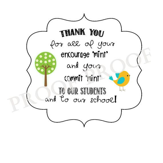 graphic about Thank You for Your Commit Mint Printable identified as Thank on your own academics for inspiration encouragement mint present