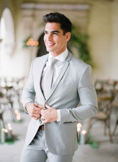 Elegant Mexico Wedding Inspiration Grey Suit Wedding Mens