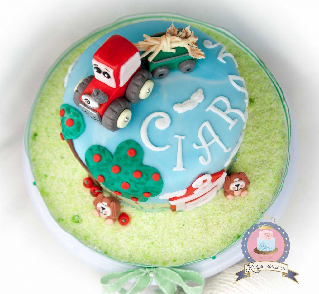Kuchenkonigin Bauernhof Traktor Torte Motivtorte Rot Fondant Tiere Gumpaste Sugarpaste Cake Torte Birthday Kinder Kuchen Kindergeburtstag Bauernhoftorte Kuchen