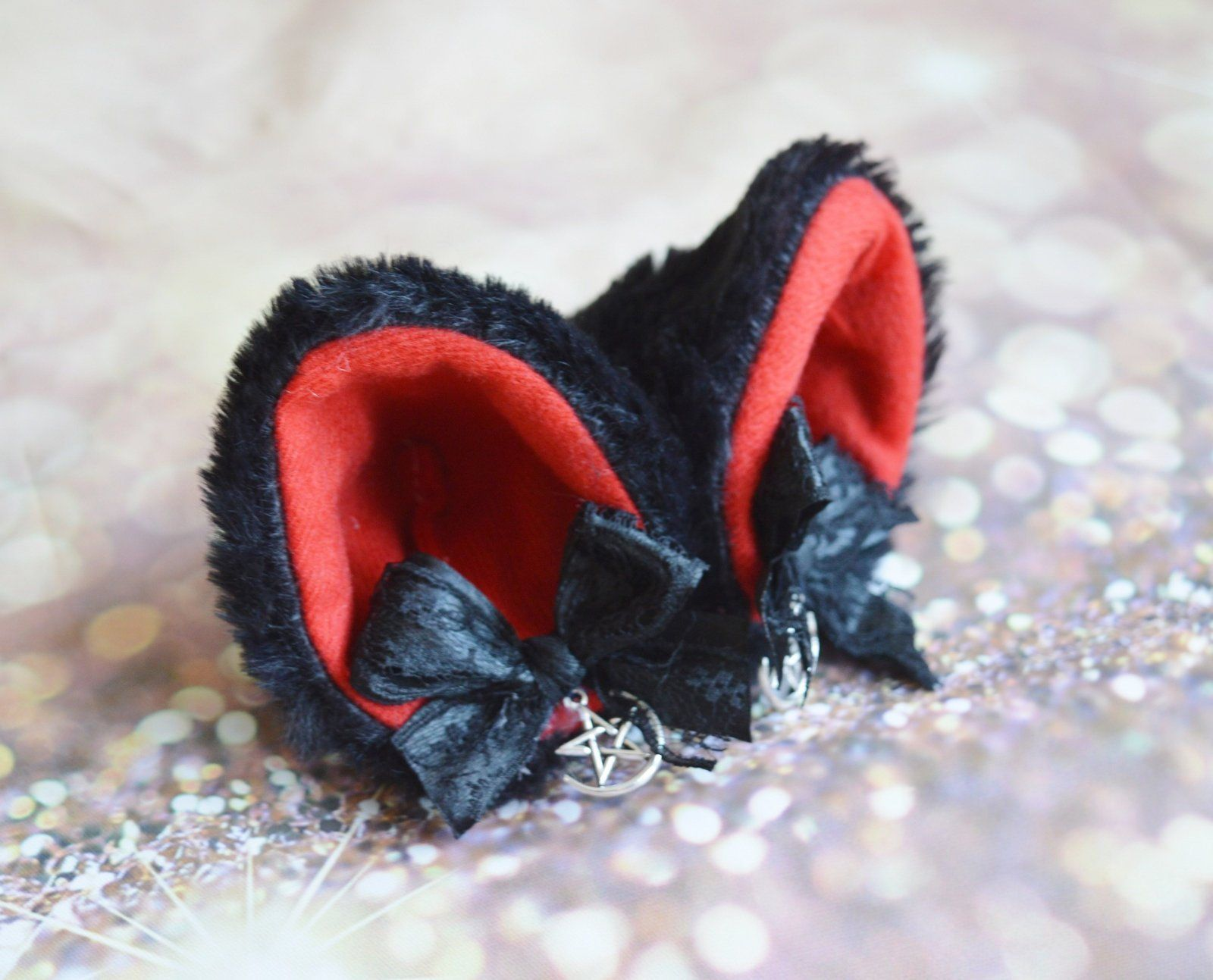 Made To Order Kitten Play Clip On Cat Ears With Ribbon Bows Etsy Kitten Play Gear Kittens Playing Cat Accessories