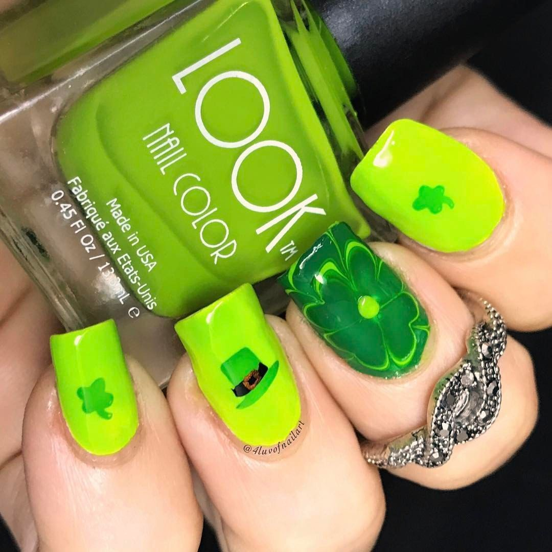 """136 Likes, 25 Comments - Jennifer (@4luvofnailart) on Instagram: """"Well my shamrock for #watermarblepracticewed ended up being a single accent nail because none of my…"""""""