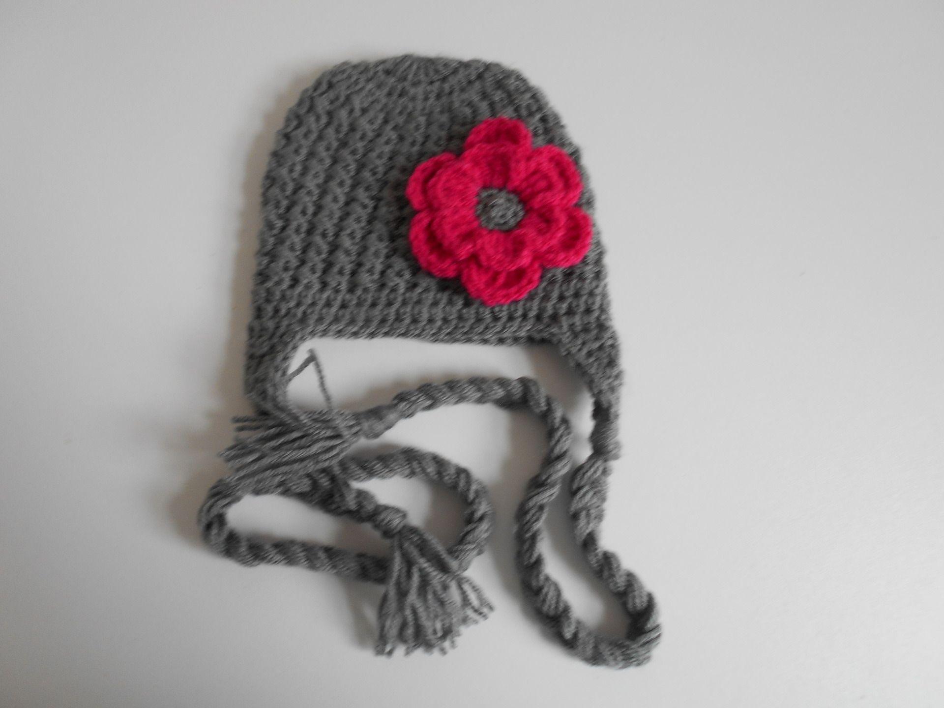 efbc1597ab2ad bonnet bebe fille ,bonnet bebe fait main en laine fuchsia et gris : Mode  Bébé par chtiewie