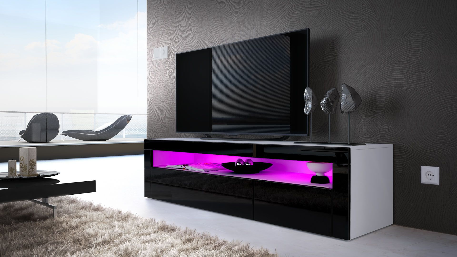 Valencia Tv Board Mit Optionaler Led Beleuchtung Und Fernbedienung  # Vladon Meuble Tv