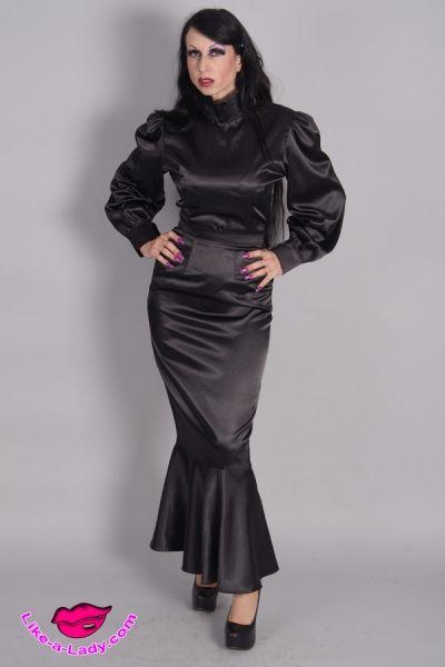 Custom Tailored Satin Blouse And Skirt Satin Dresses