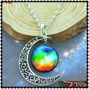 NEW Galaxy Universe Interstellar crossing Crescent Moon Glass Cabochon Necklace